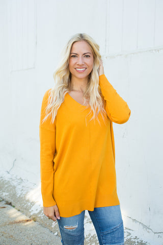 Ultra Soft Vneck Sweater - Mustard