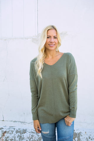 Ultra Soft Vneck Sweater - Olive