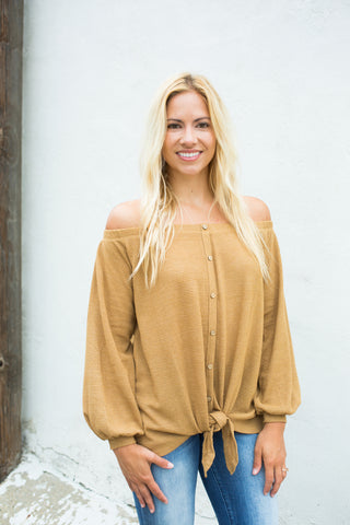 Off Shoulder Tunic - Mustard