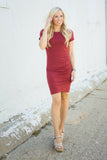 Ruched Side Dress - Rust