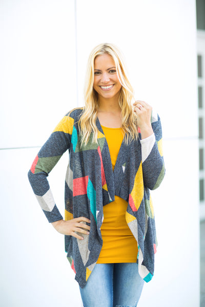 Chevron Striped Cardigan - Darker Color
