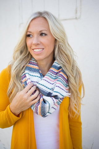Stripe Infinity Scarf - Teal