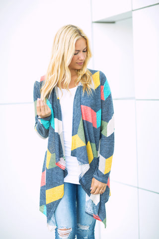 Chevron Striped Cardigan - Longer Length