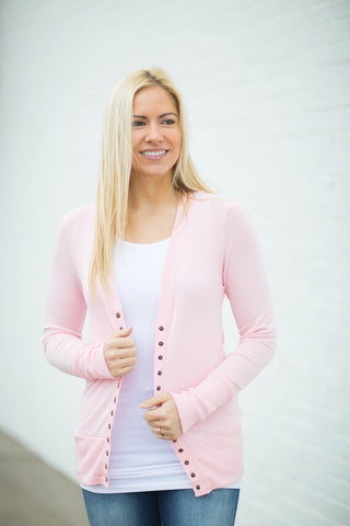 Snap Cardigan - Light Pink