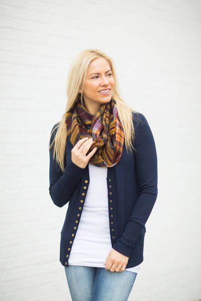 Snap Cardigan - Navy