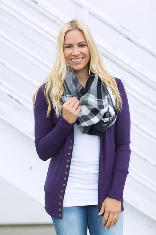 Snap Cardigan - Purple