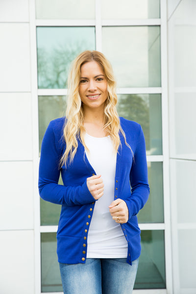 Snap Cardigan - Royal Blue