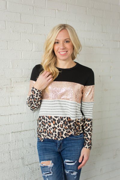 Sequin Colorblock Top - Leopard - S-3X