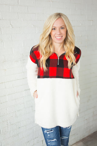 Sherpa Pullover - Buffalo Plaid - S-3X