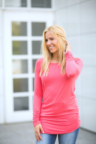 Coral Ruched Side Tunic