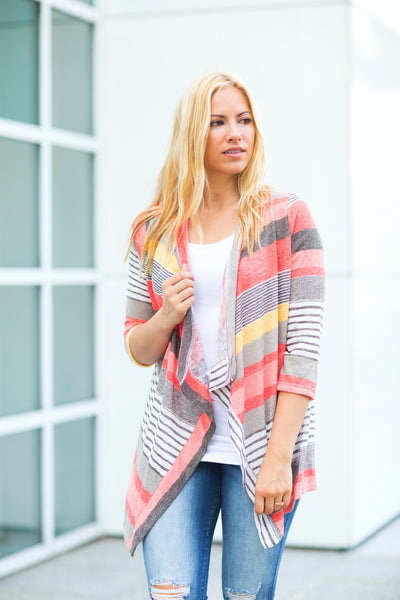 Striped 3/4 Sleeve Cardigan - Coral