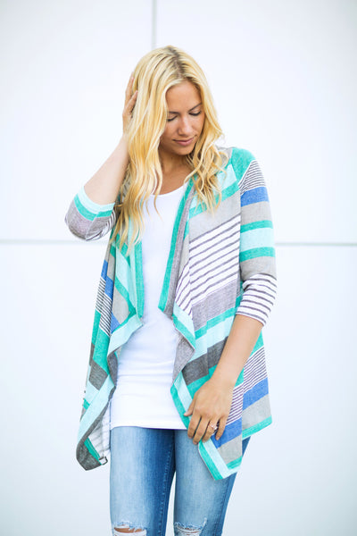 Striped 3/4 Sleeve Cardigan - Mint