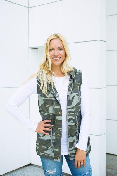 Longer Length Vest - Dusty Camo