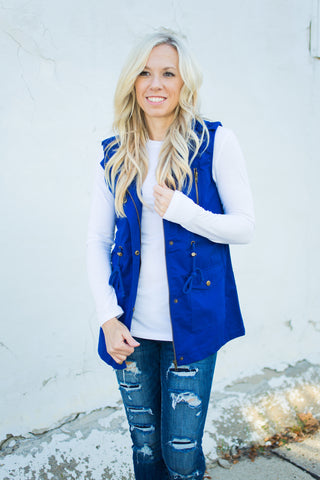 Longer Length Vest - Denim Blue - S-3X