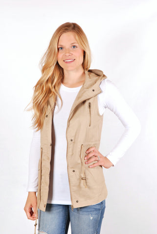 Longer Length Vest - Khaki