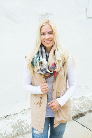Longer Length Vest - Khaki - S-3X