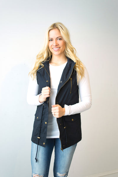 Longer Length Vest - Navy