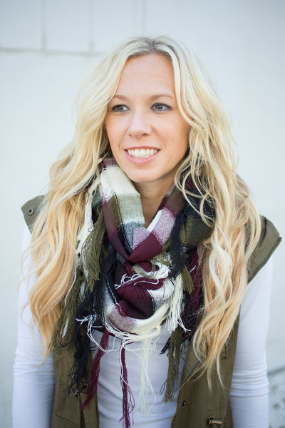 Colorblock Fringe Scarf - Navy & Wine