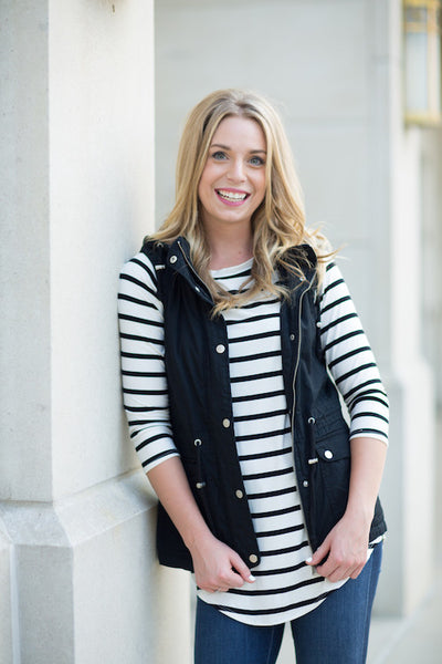 Black Striped 3/4 Sleeve Tunic