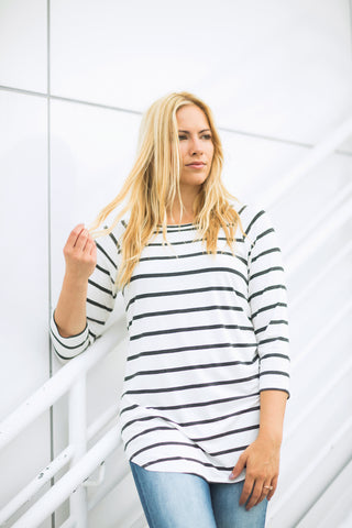 Charcoal 3/4 Sleeve Striped Tunic