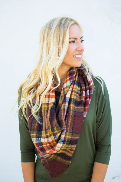 Plaid Triangle Scarf - Wine