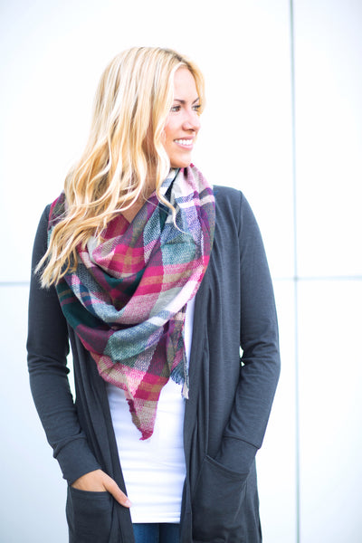 Plaid Triangle Scarf - Green