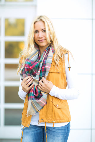 Plaid Triangle Scarf - Ivory