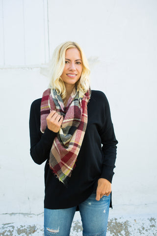 Plaid Triangle Scarf - Beige/Black/Wine