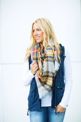 Plaid Triangle Scarf - Yellow