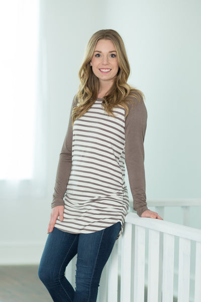 Mocha Striped Colorblock Tunic