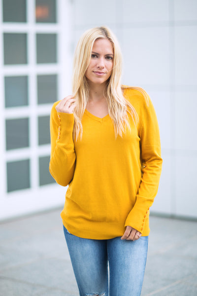 Vneck Sweater - Mustard