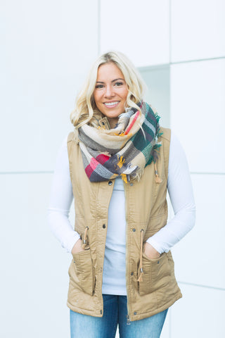 Longer Length Fur Lined Vest - Khaki