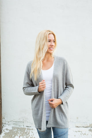 Waffle Cardigan - Heather Grey
