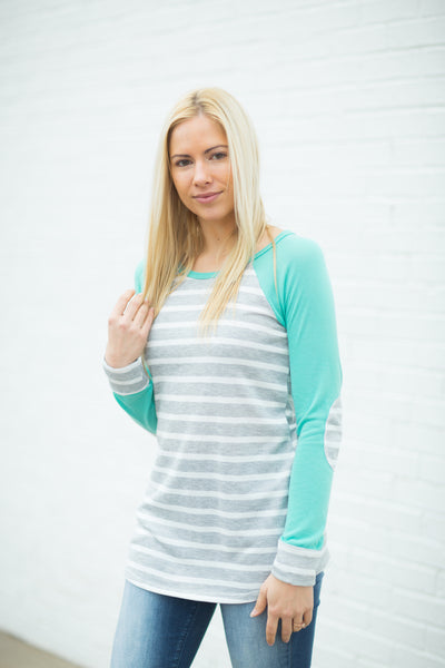 Elbow Patch Striped Tunic - Mint