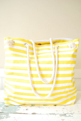 Blemished Yellow Striped Canvas Bag