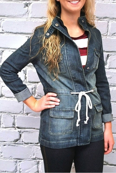 Drawstring Accent Denim Coat