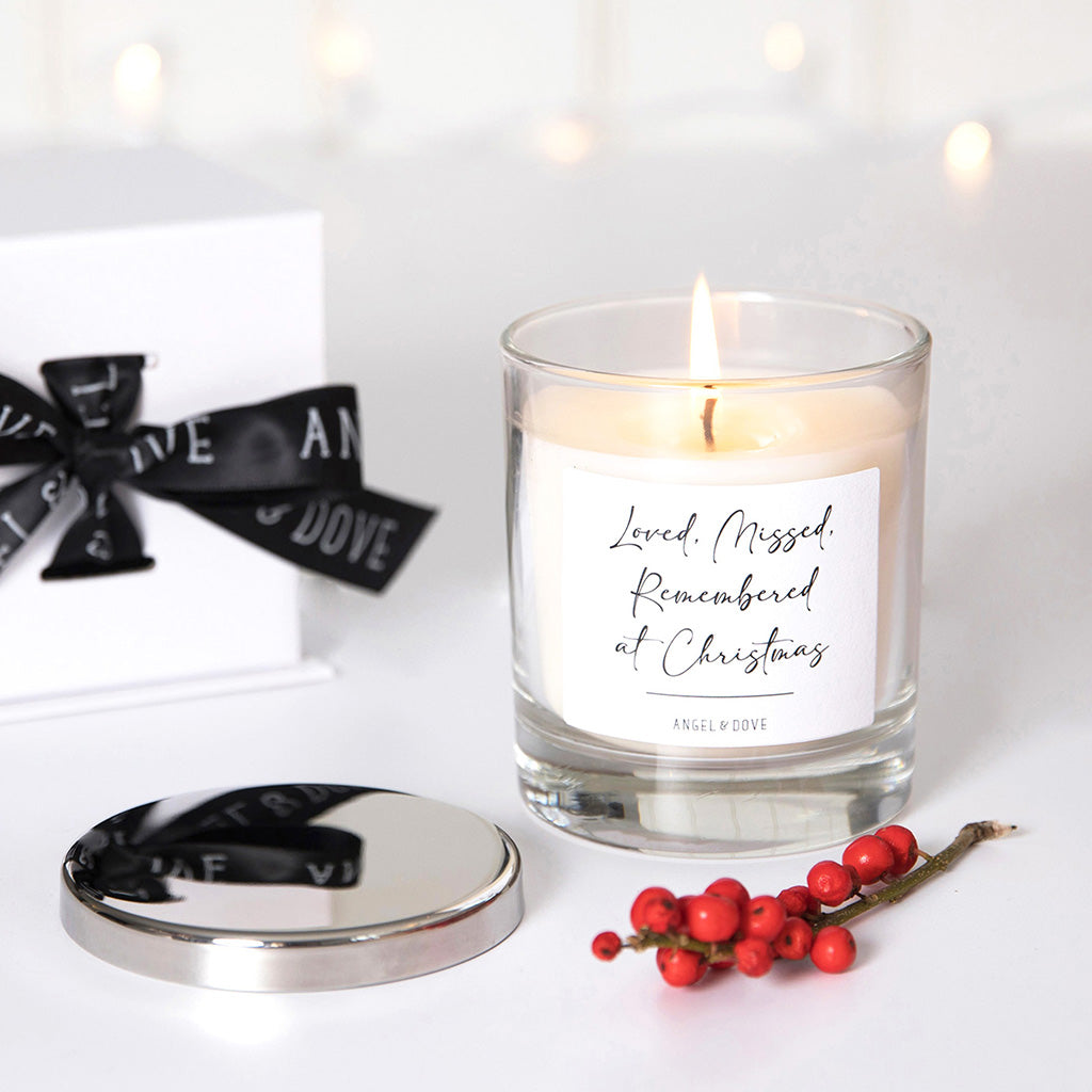 Loved Missed Remembered at Christmas Candle