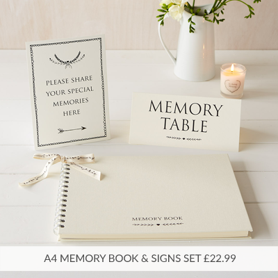 A4 Funeral Memory Table Condolence Book Set