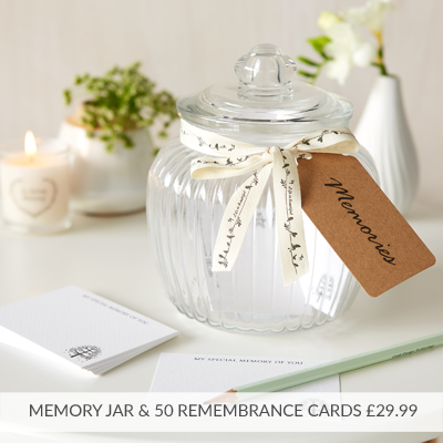 Glass Funeral Memory Jar & 50 Remembrance Cards