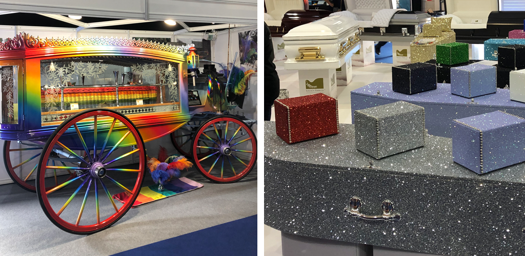 Rainbow Funeral Carriage & Glitter Coffins