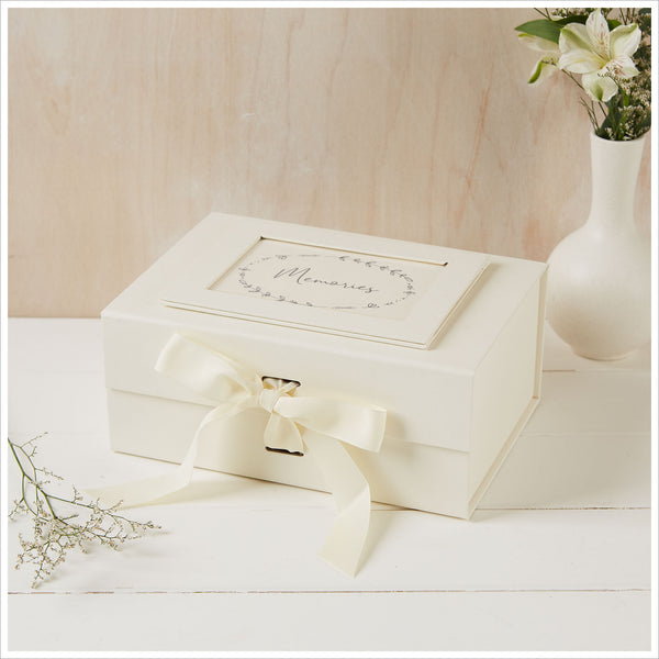 Medium A5 Ivory Card Memory Box with Grosgrain Ribbon Bow - Angel & Dove