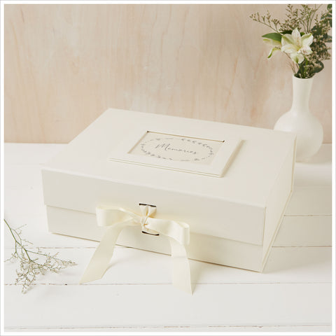 Large A4 Ivory Card Memory Box with Grosgrain Ribbon Bow - Angel & Dove