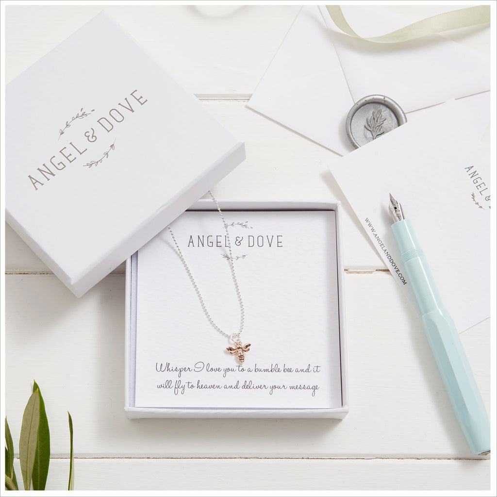 Rose Gold Bumble Bee Necklace in Gift Box with Bag & Gift Card - Angel & Dove