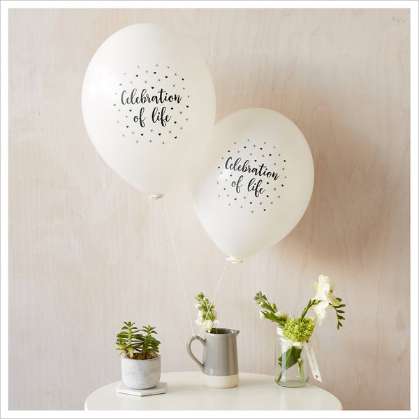 Celebration of Life Funeral Remembrance Balloons - White - Angel & Dove
