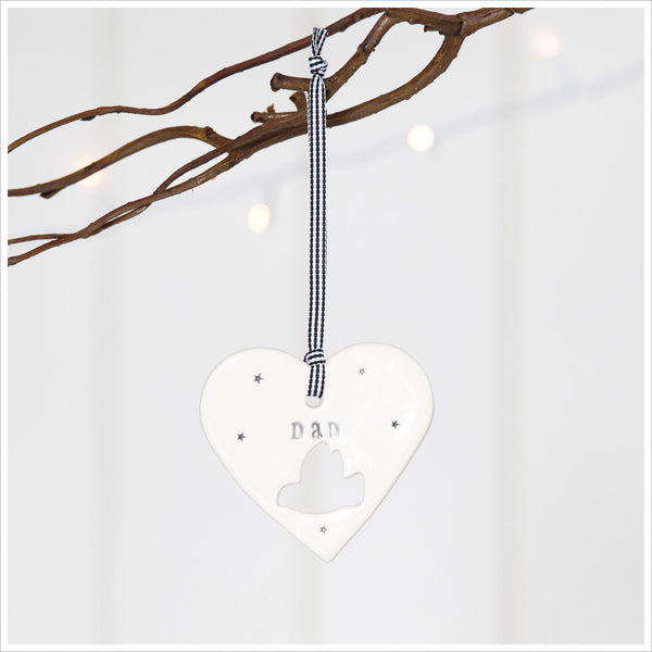 'Dad' Handmade Ceramic Heart Decoration in Luxury Gift Box - Angel & Dove