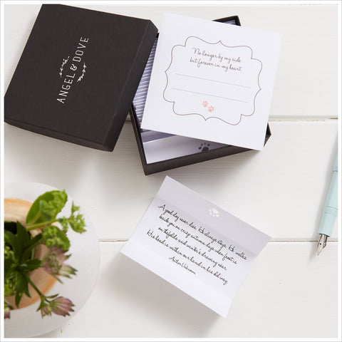30 Comforting Dog Bereavement Quotes in Gift Box with Bag & Card - Pet Sympathy Gift - Angel & Dove