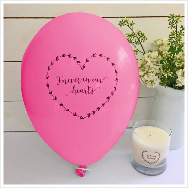 Forever In Our Hearts Funeral Remembrance Balloons - Bright Pink - Angel & Dove