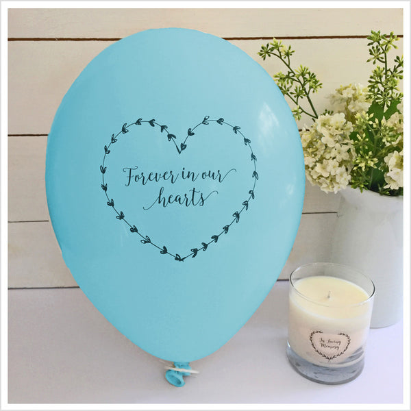 Forever In Our Hearts Funeral Remembrance Balloons - Blue - Angel & Dove