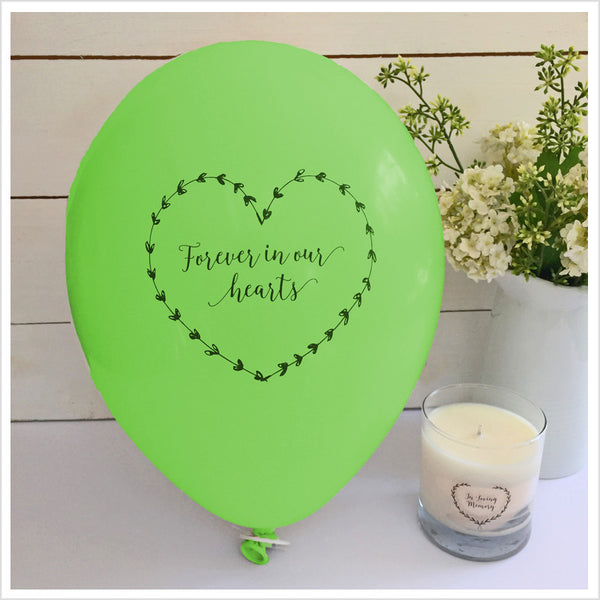 Forever In Our Hearts Funeral Remembrance Balloons - Green - Angel & Dove