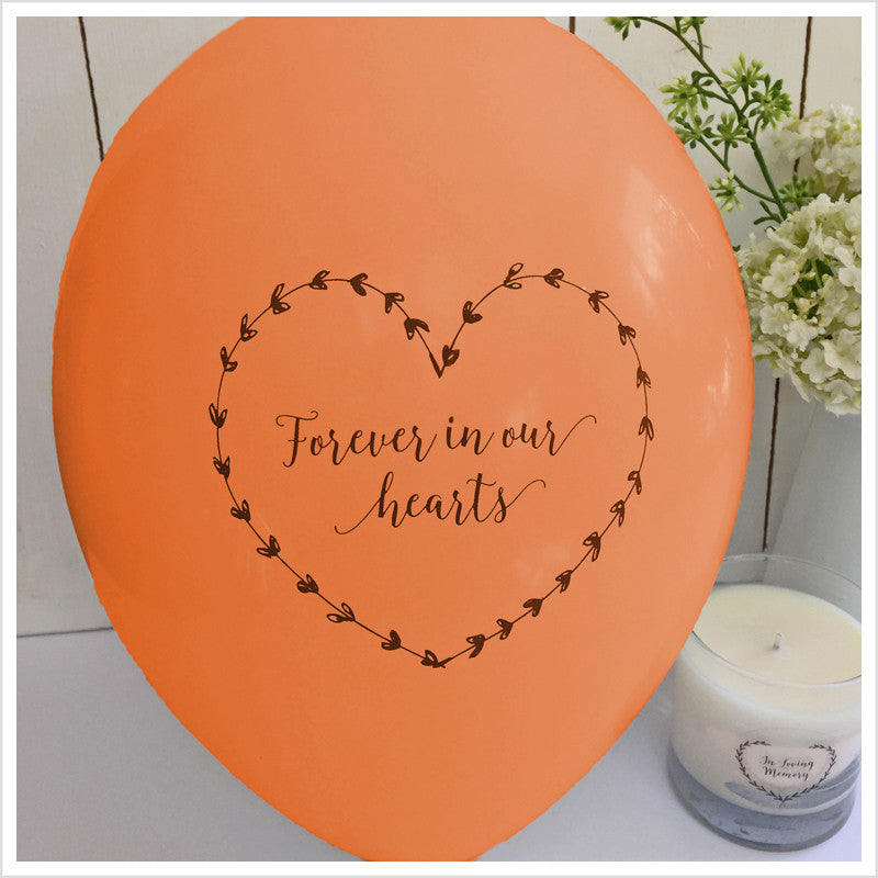 Forever In Our Hearts Funeral Remembrance Balloons - Orange - Angel & Dove